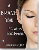 book cover for A B.R.A.V.E. Year, By Gabriel Constans, woman's face, closed eyes, looking peaceful